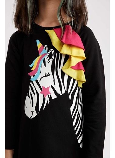 Denokids Unicorn Zebra Kız Elbise Siyah